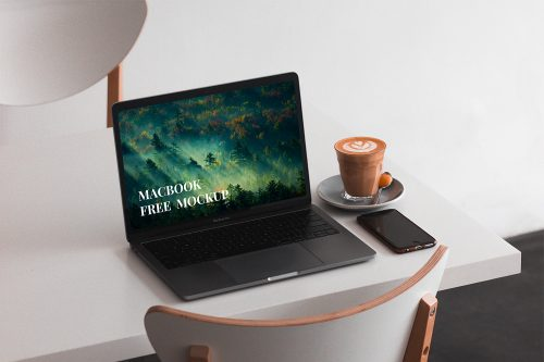 MacBook on the Table Mockup