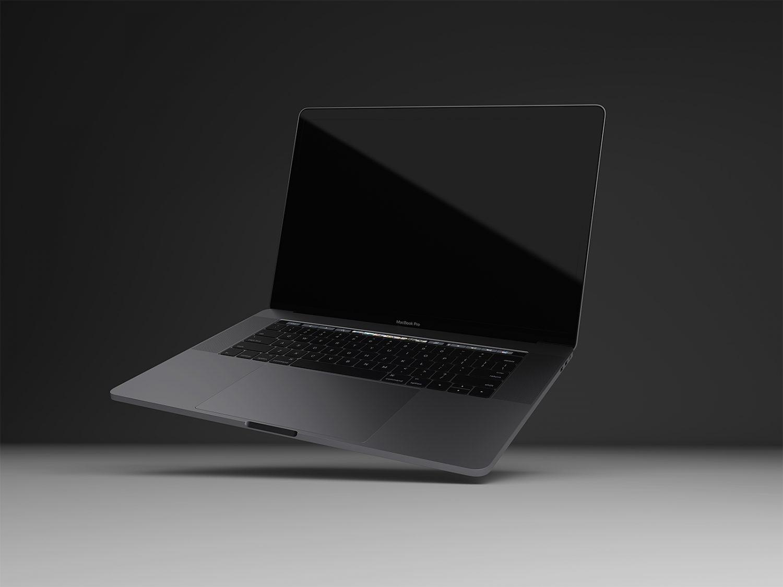Realistic MacBook Pro Space Gray Mockup