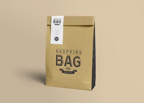 Food Delivery Paper Bag Free Mockup