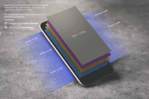 iPhone Floating Layers Mockup