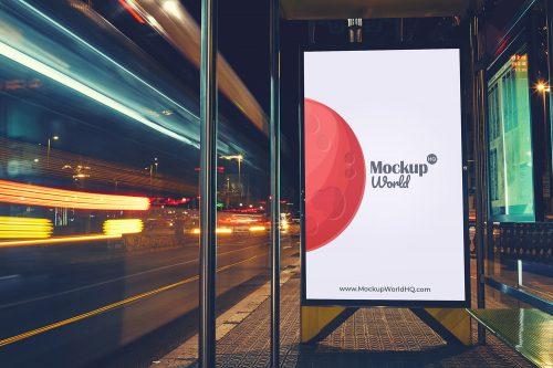 Free Bus Stop Billboard Mockup