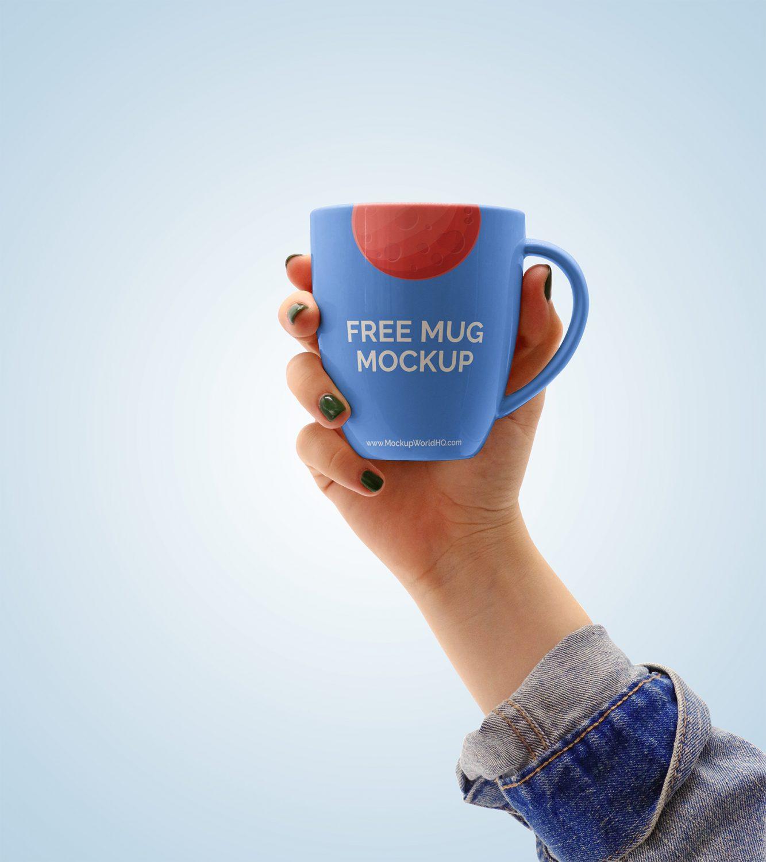 Hand Holding a Mug Free Mockup