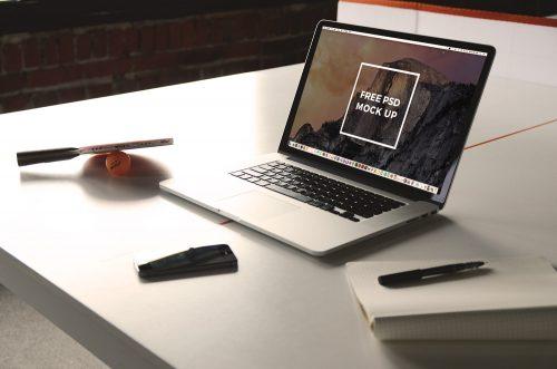 Macbook Pro on Table Mockup