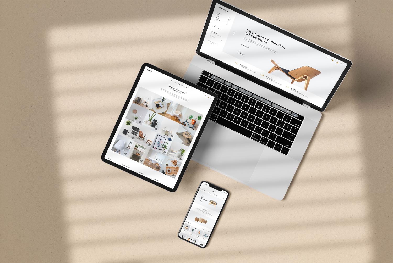 Realistic iPhone iPad Macbook Mockup