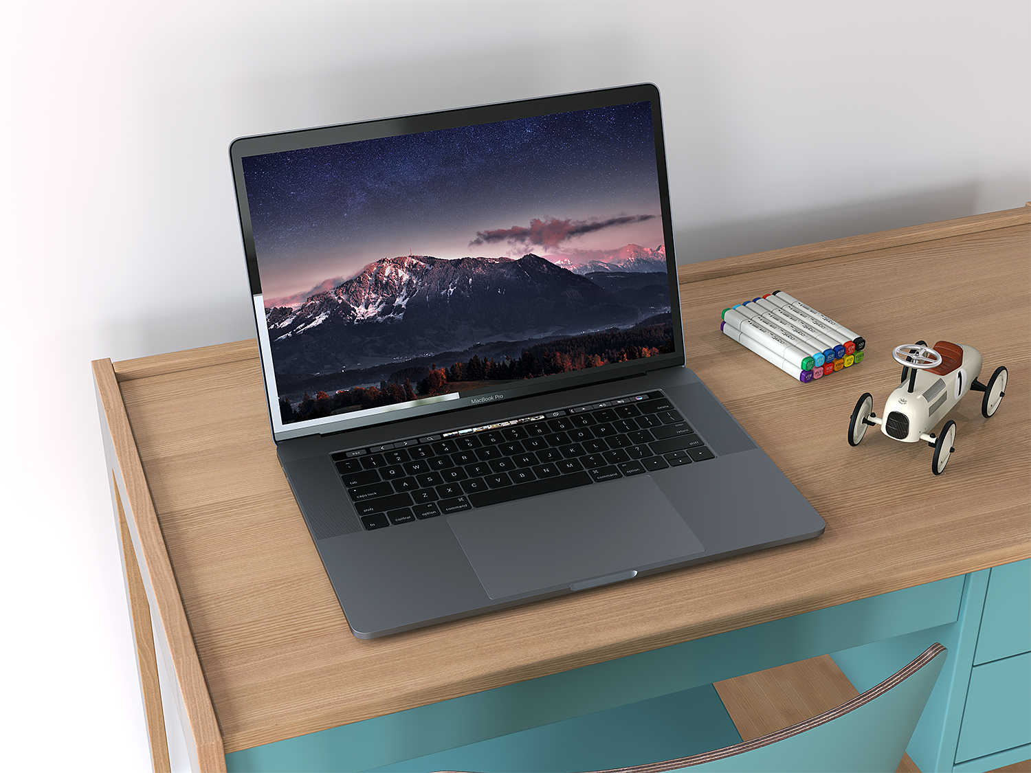 Realistic MacBook Pro with Touch Bar Mockup