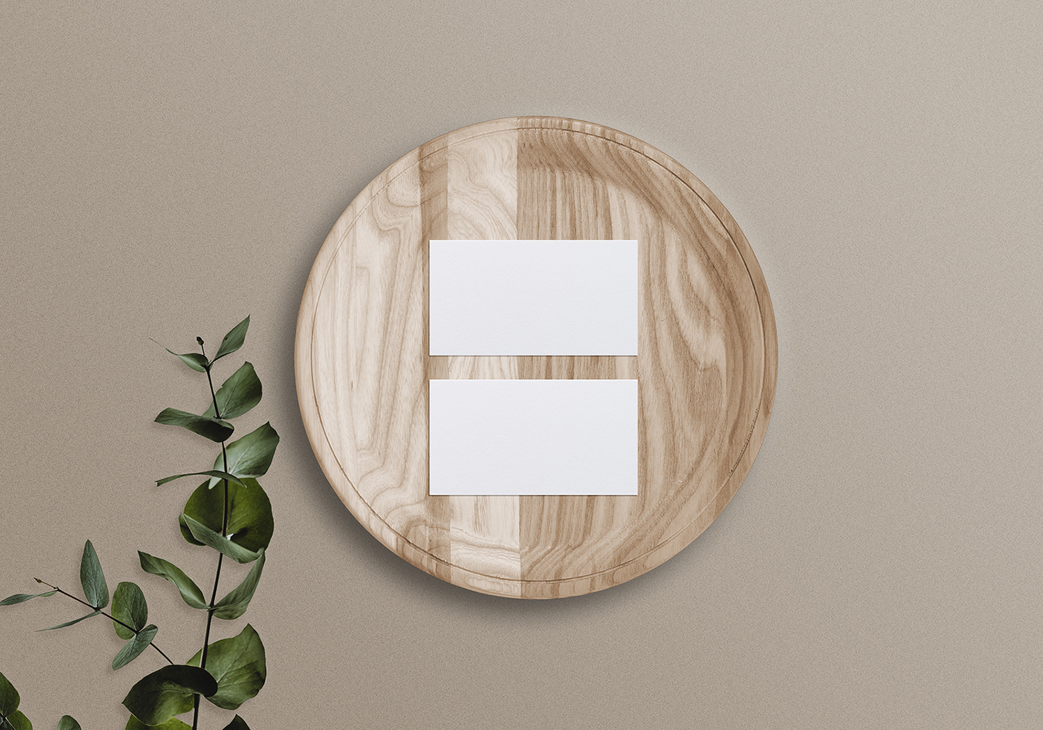 Business Card Mockup on a Wooden Tray