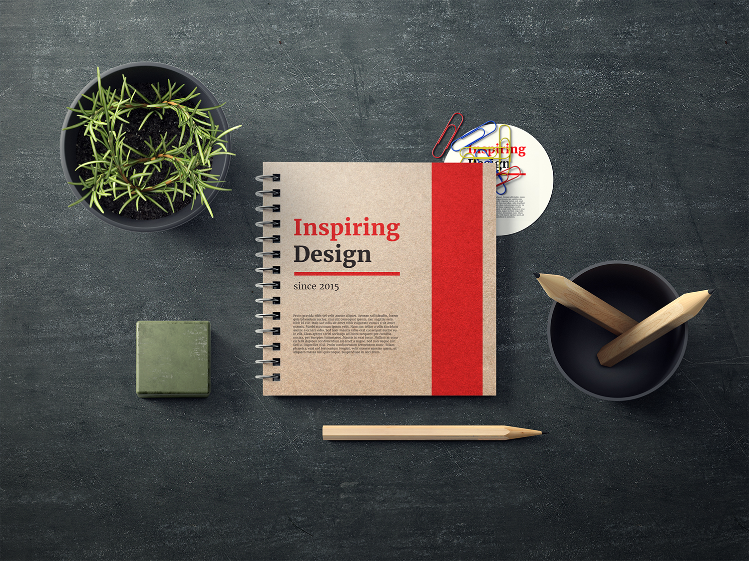 Free Notebook Mockup PSD Template