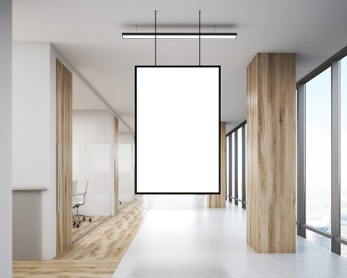 Free Office Indoor Hanging Poster Mockup