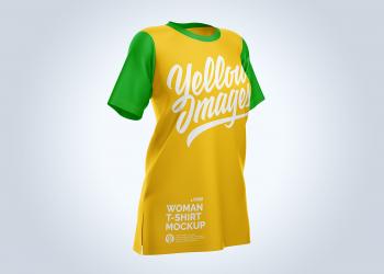 Free Women T-Shirt Half-Side Mockup