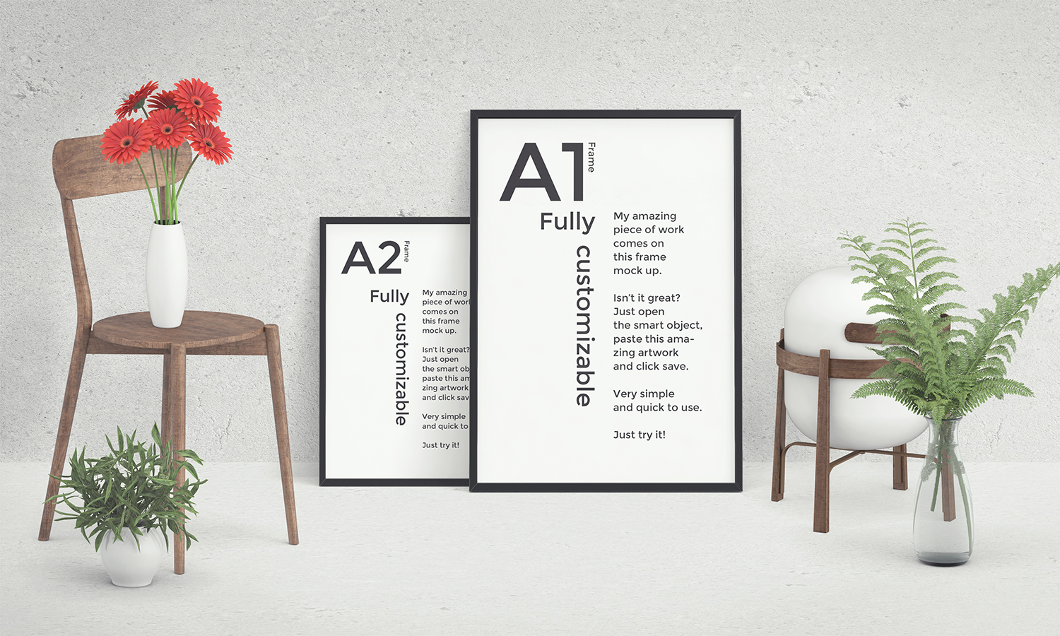 Front View Poster Mockup Scene