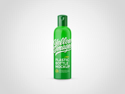 Glossy Cosmetic Plastic Bottle Free Mockup