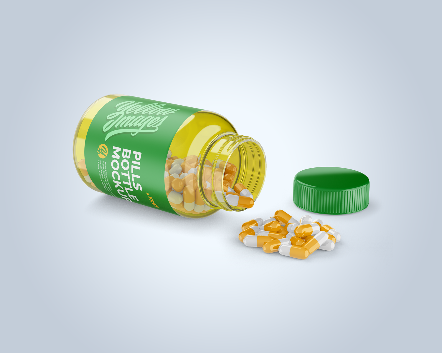 Transparent Bottle with Pills Mockup