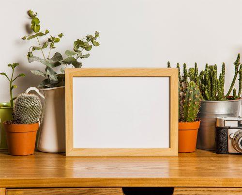 Wood Photo Frame Free Mockup