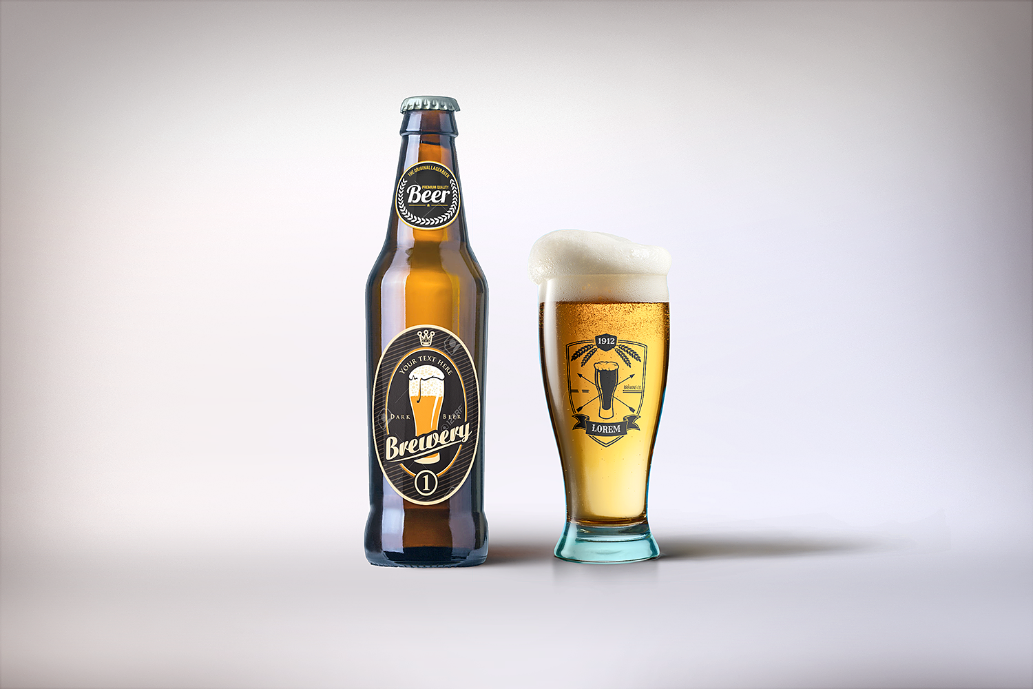 Beer Bottle and Glass Mockup Free PSD