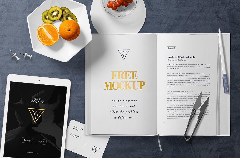 Free Open Book Page Mockup Scene