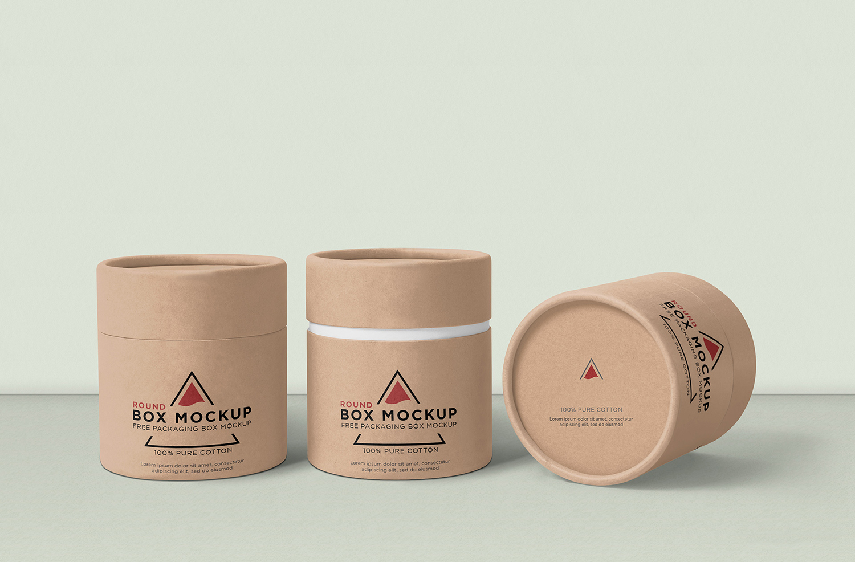 Free Round Box Mockup