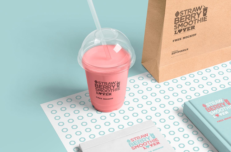 Free Transparent Plastic Cup Mockup