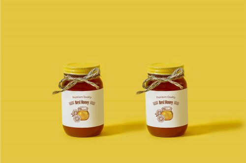 Glass Honey Jar Free Mockup
