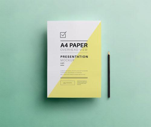 PSD A4 Overhead Paper Mockup