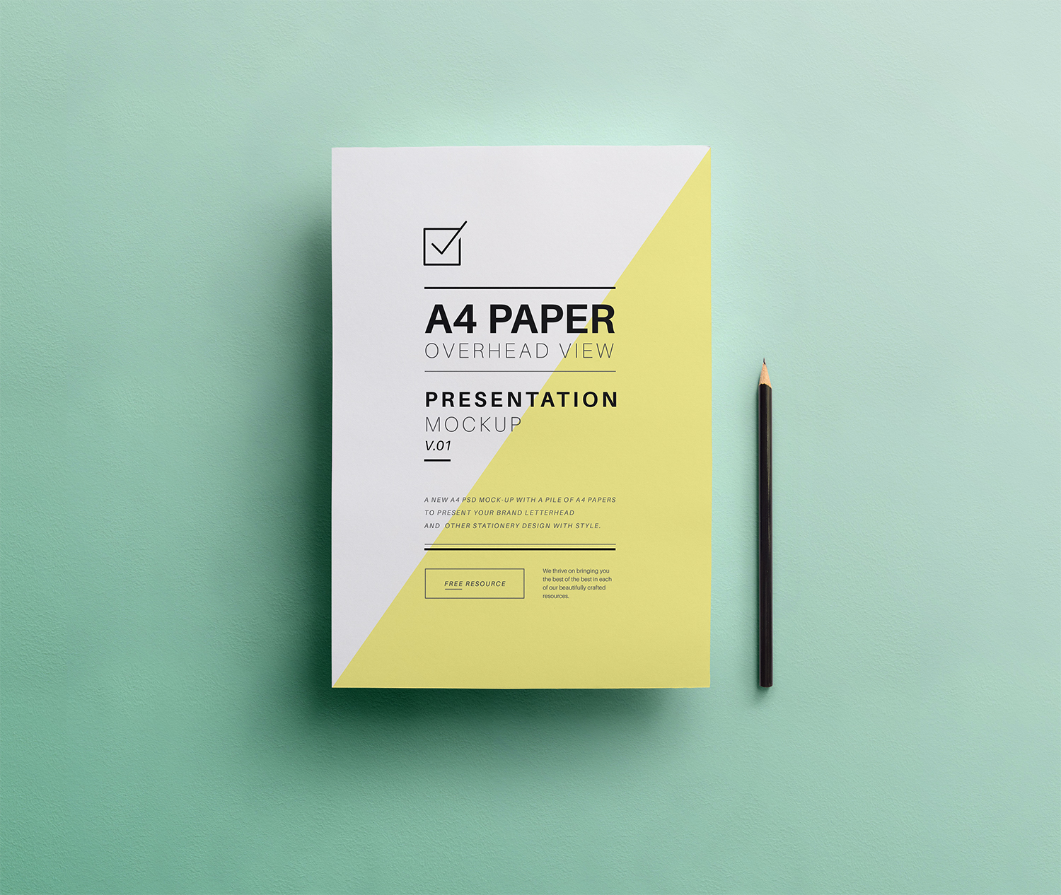 PSD A4 Overhead Paper Mockup
