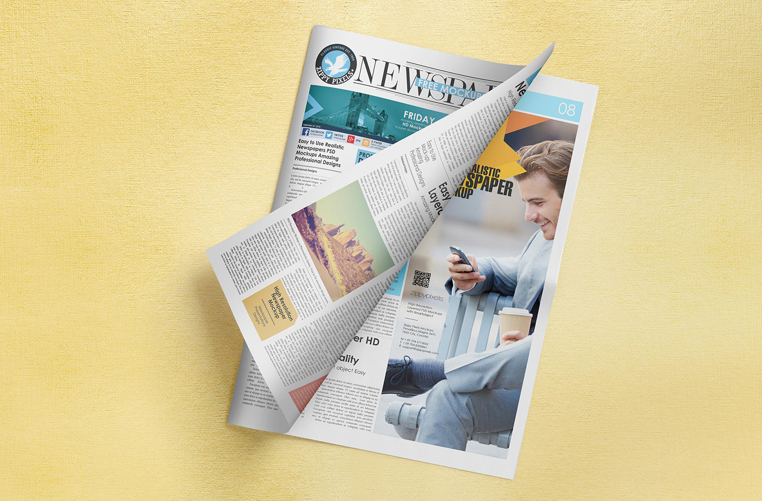 Free Brilliant Newspaper Adverts Mockup