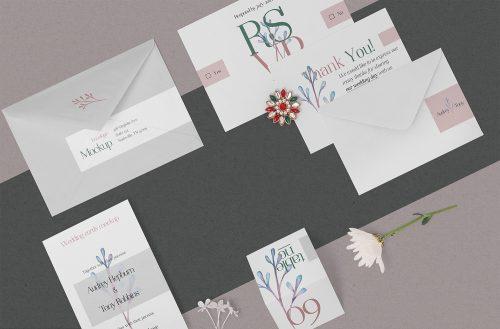 Free Elegant Wedding Stationery Mockup