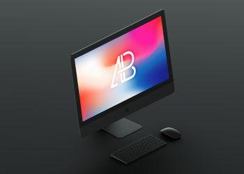 Free Isometric Matte Black iMac Pro Mockup