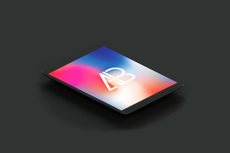 Free Isometric Matte Black iPad Pro Mockup