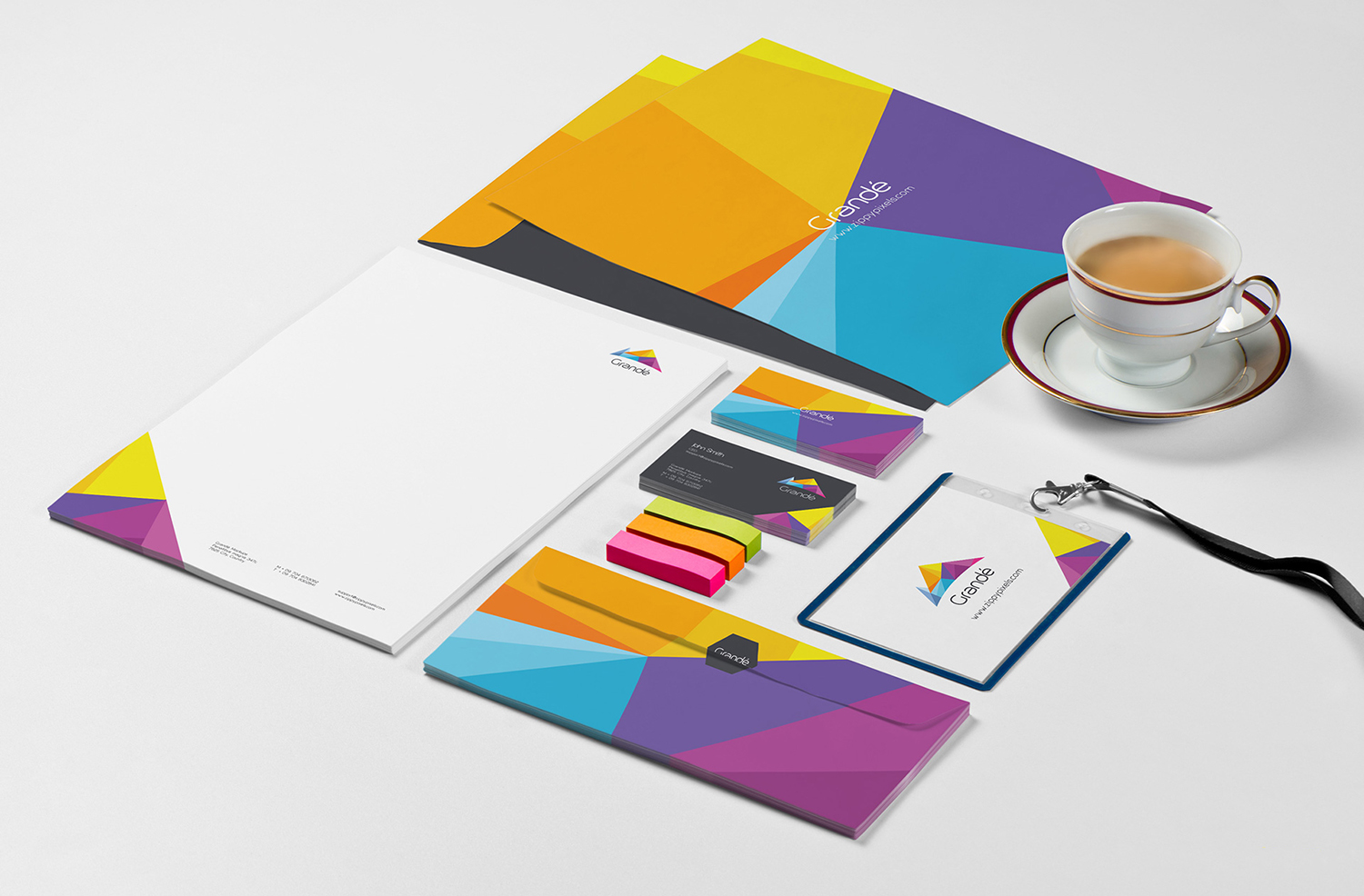 Free Photorealistic Stationery Branding PSD Mockups