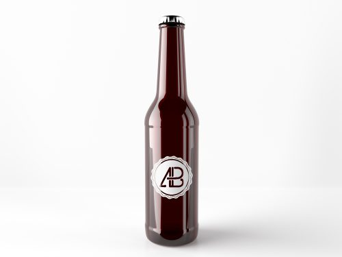 Free Realistic Beer Bottle Mockup