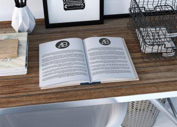 Free Realistic Open Book Mockup
