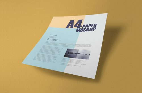 Free Textured A4 Paper Mockup PSD