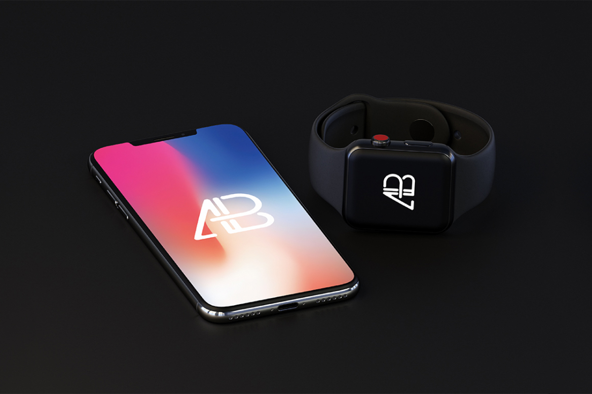 Free iPhone X and Apple Watch Series 3 Mockup