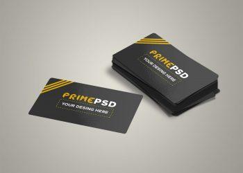 Glossy Business Card Mockup Free PSD