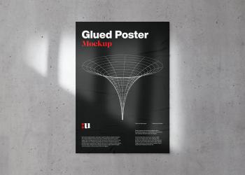 Glued Poster Mockup