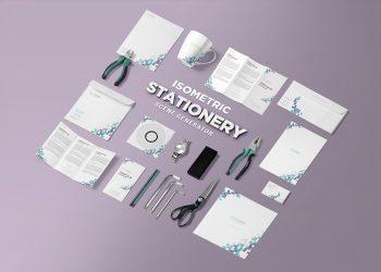 Isometric Stationery Mockup Free PSD