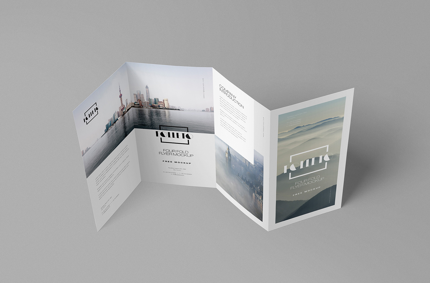 Photorealistic Folded Brochure Mockup