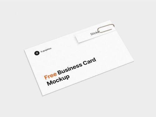 Business Card & Sticker Free Mockup