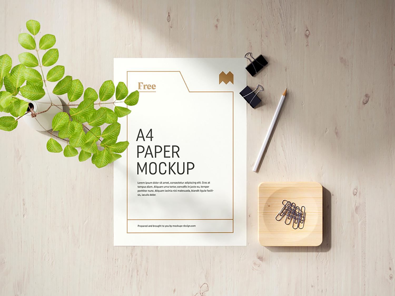 Free A4 Paper Mockup