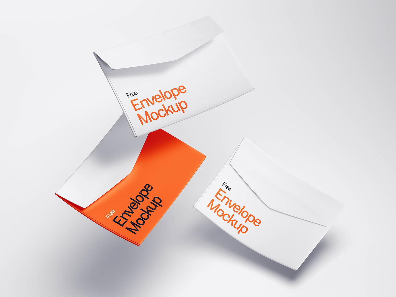 Free Levitating Envelope Mockups