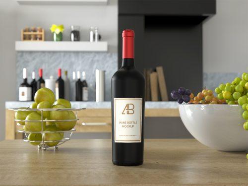 Free Wine Bottle PSD Mockup