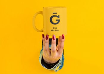 Hand with Cup Mockup