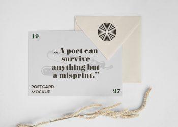 Horizontal Postcard and Envelope Mockup