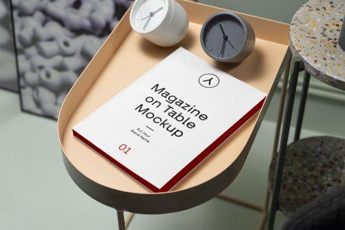 Magazine on Table PSD Mockup