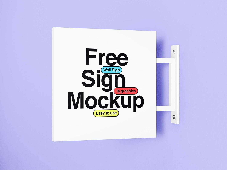 Wall Minimalistic Signage Mockup Free PSD