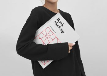 Women Holding Book Mockup