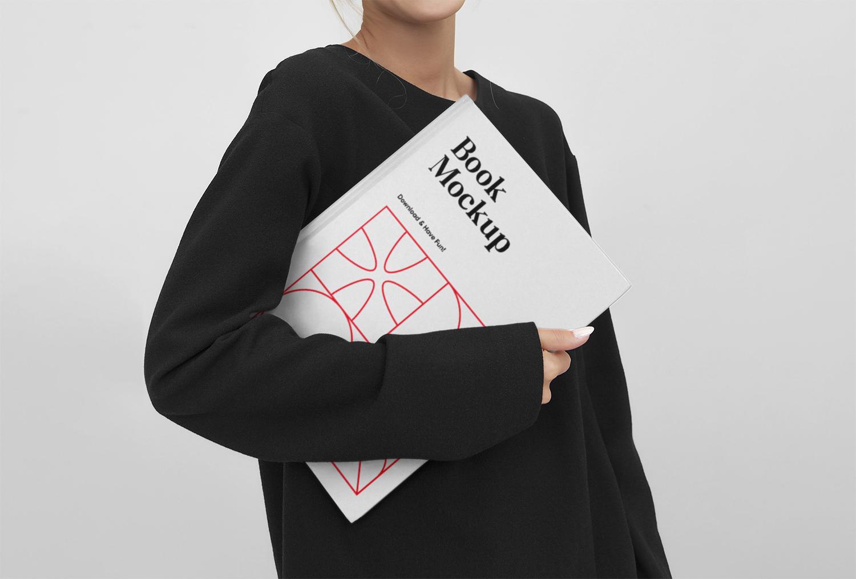 Women Holding Book Mockup