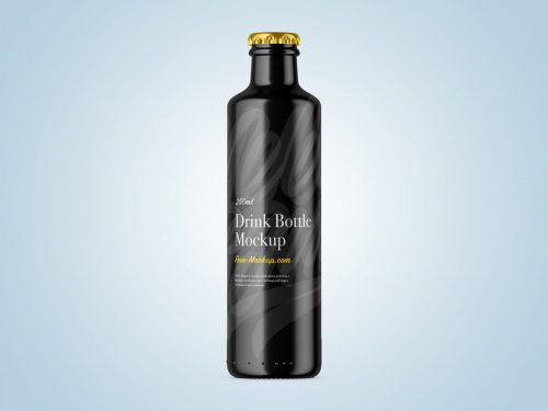 250ml Glossy Bottle Free Mockup
