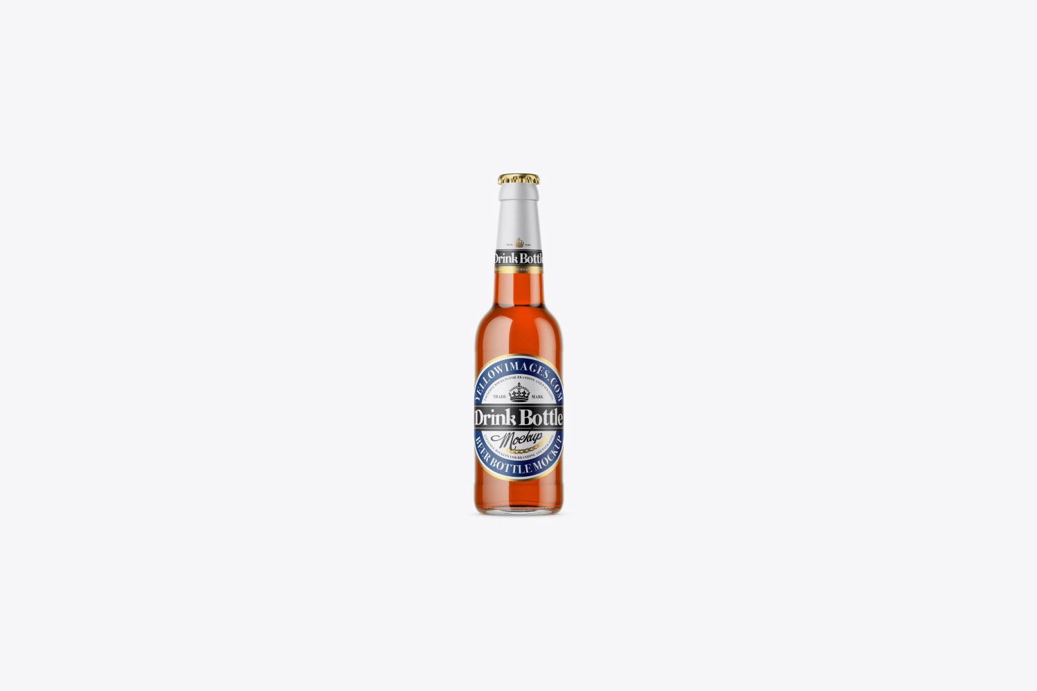 330ml Clear Glass Bottle With Drink Mockup