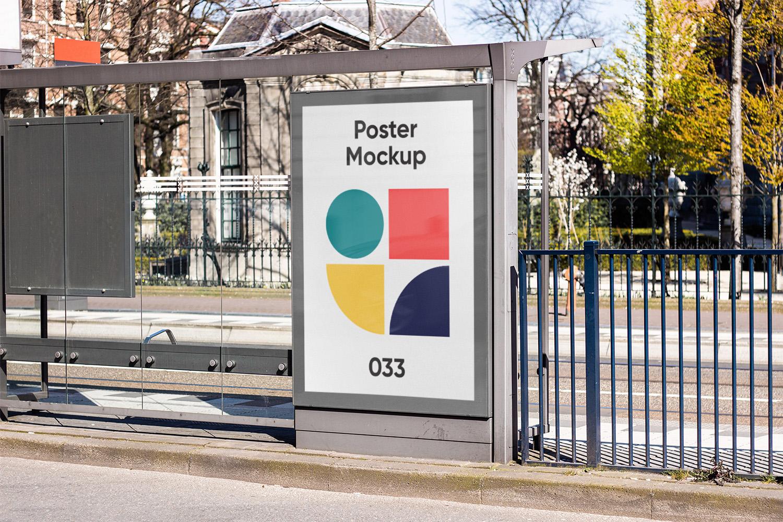 Bus Stop Poster City Light Mockup Free